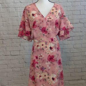 Ava & Viv Pink Floral Ruffle Dress 2XL